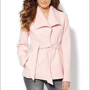 New York and Company Pink wrap winter Pea Coat